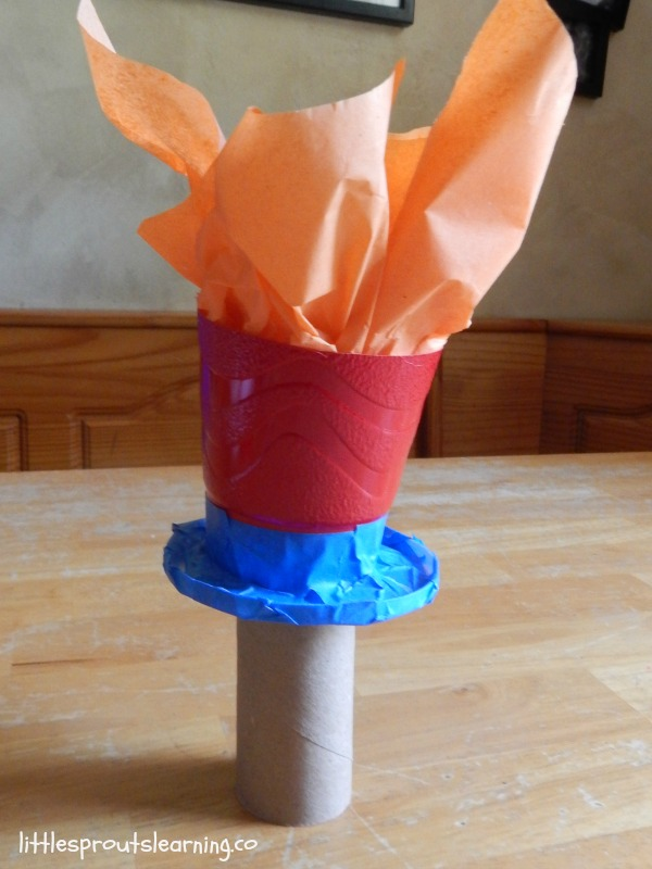 homemade olympic torch for kids summer games