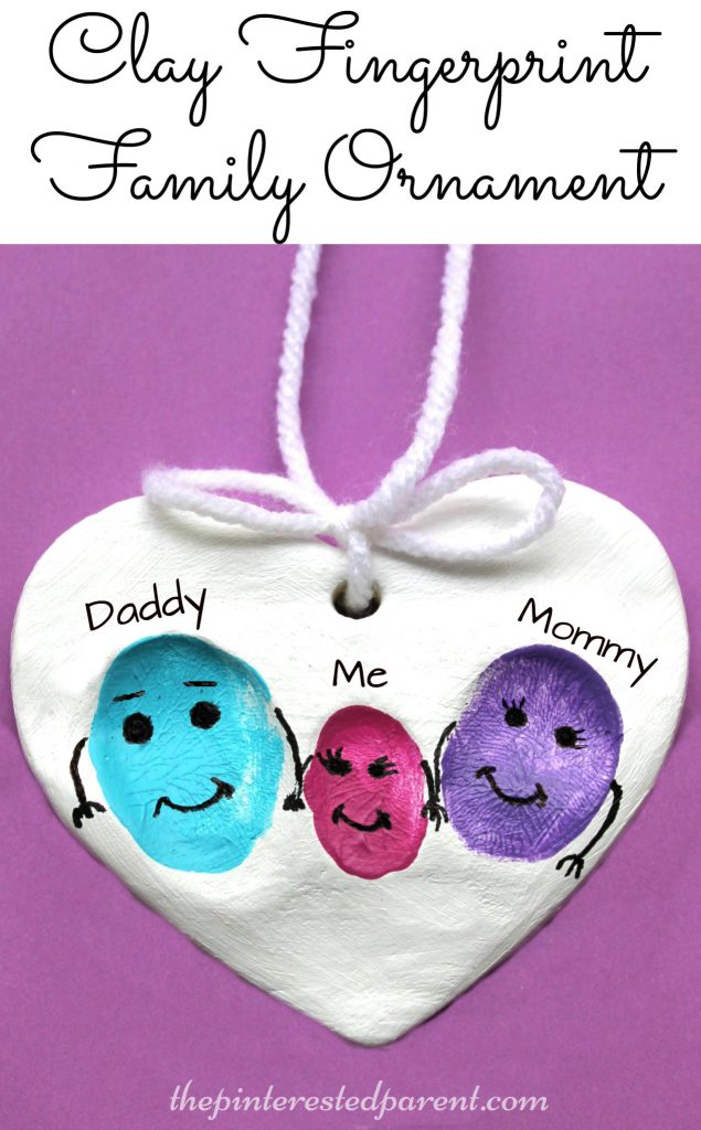 clay family fingerprint ornaments a sweet and easy