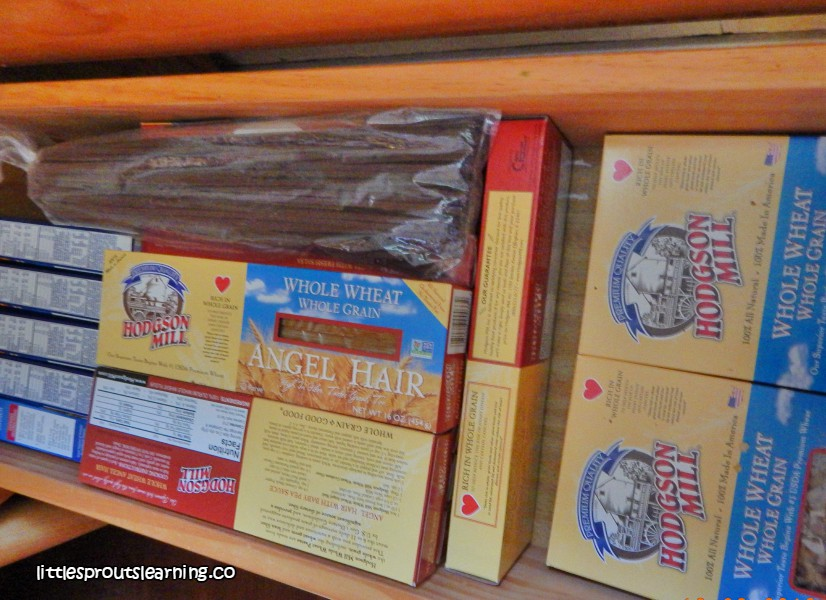 cabinet full of dry good pastas for emergencies