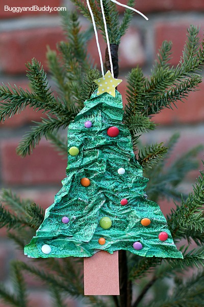 crunched up paper christmas tree ornaments for kids to make for parents for christmas