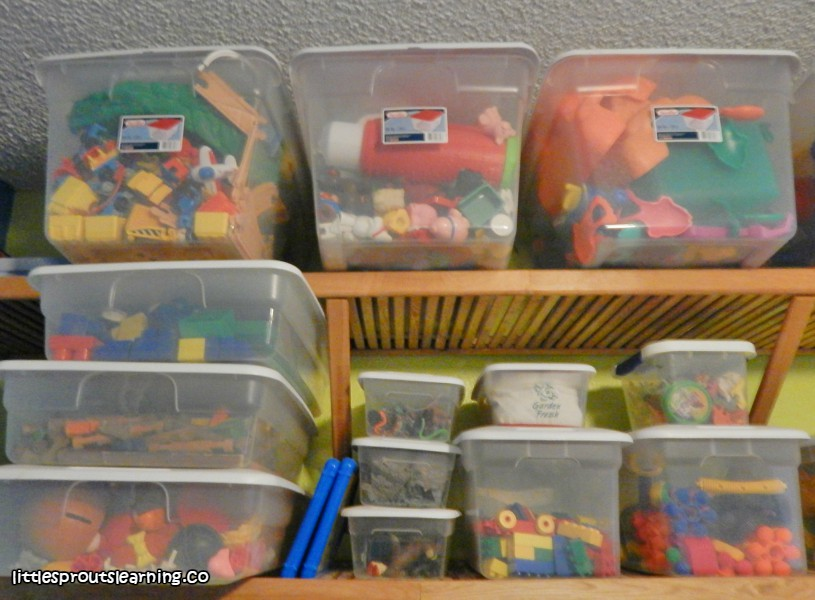 toy storage on shelves