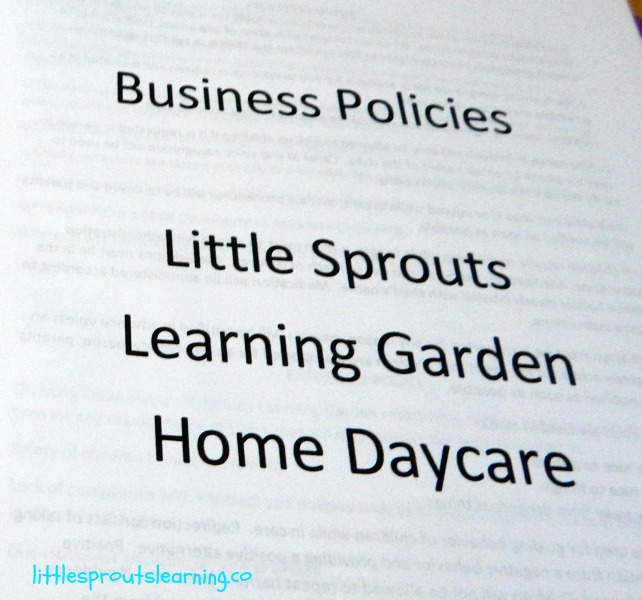 business policies for home daycare