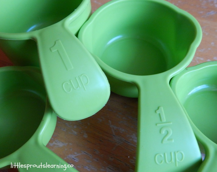 measuring cups on table