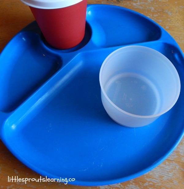 blue plastic plate with red cup and snack cup, portion sizes for kids