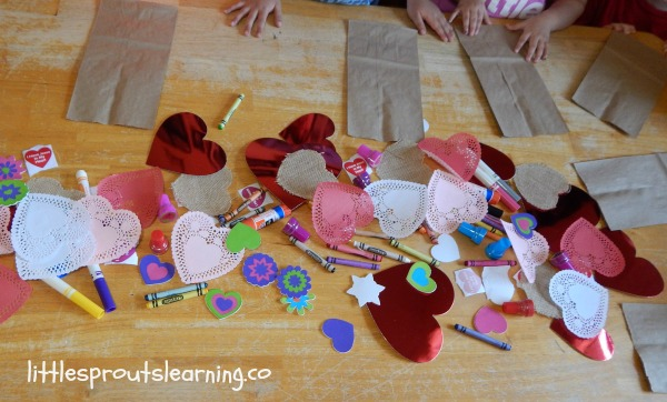 process art supplies for valentine's bags