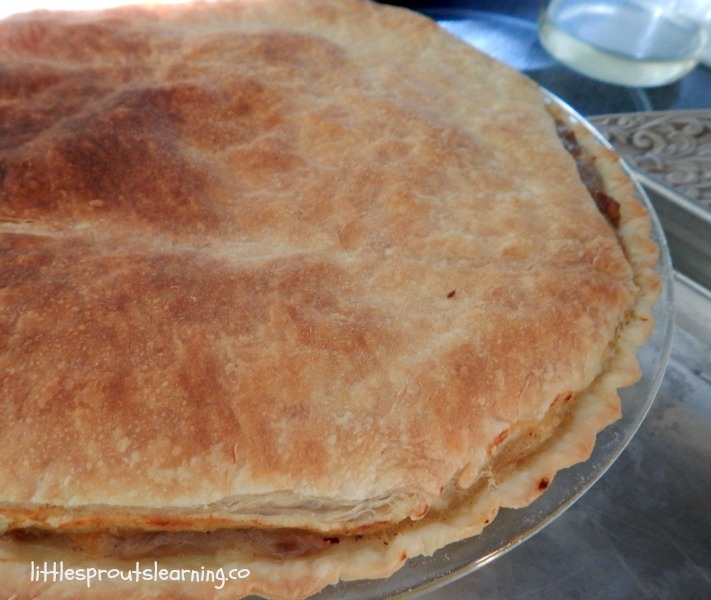 leftover pork roast pot pie whole fresh from the oven