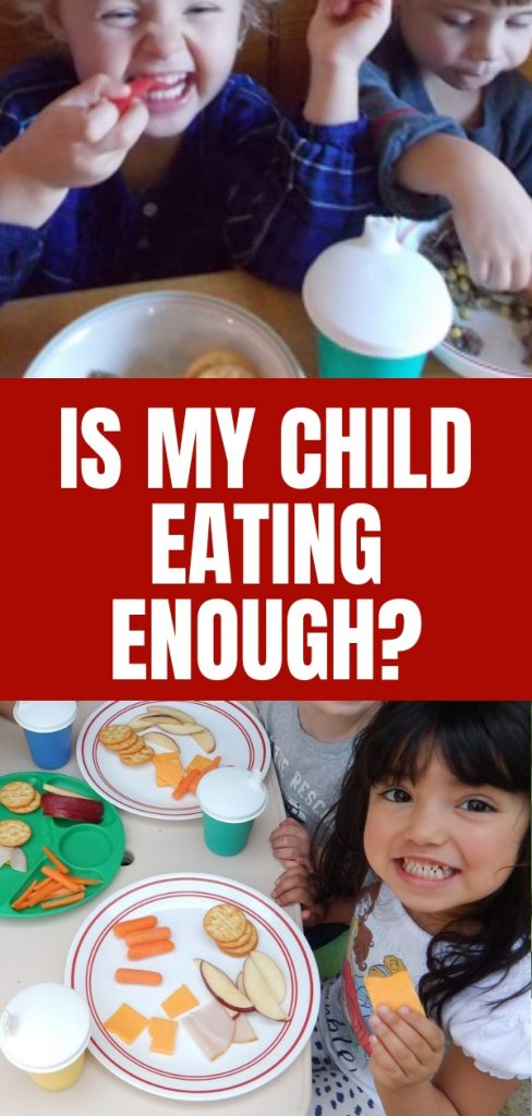 "How much should my child be eating? Many times we think kids aren't eating ""anything"" when they are eating the appropriate portion sizes for their age."