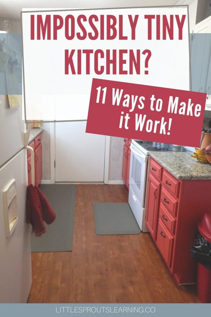 tiny kitchen from end to end. Galley style