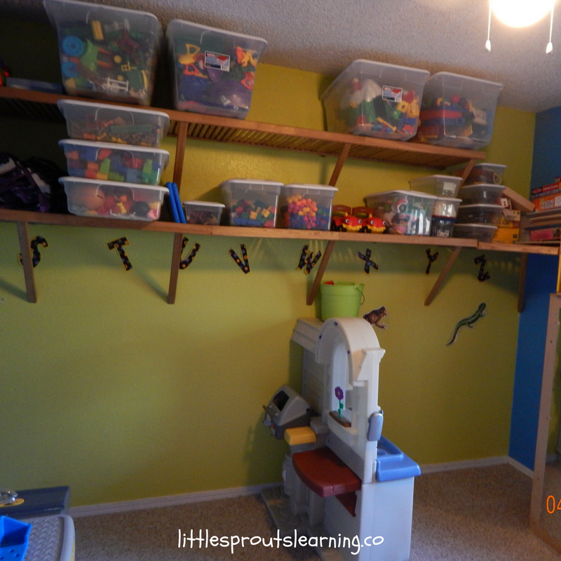 organized shelves in home daycare