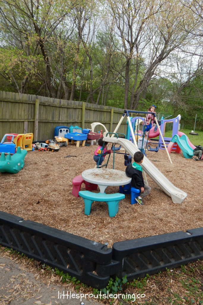 outdoor daycare space set up