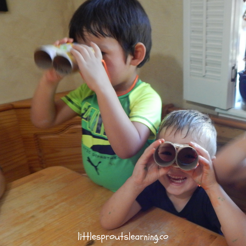 making dinoculars out of paper towel tubes to hunt dinosaurs