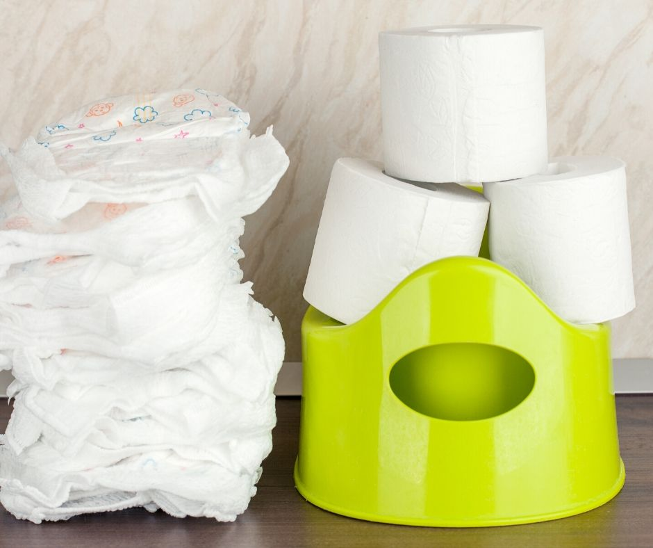 supplies for potty training, diapers, toilet paper, potty seat