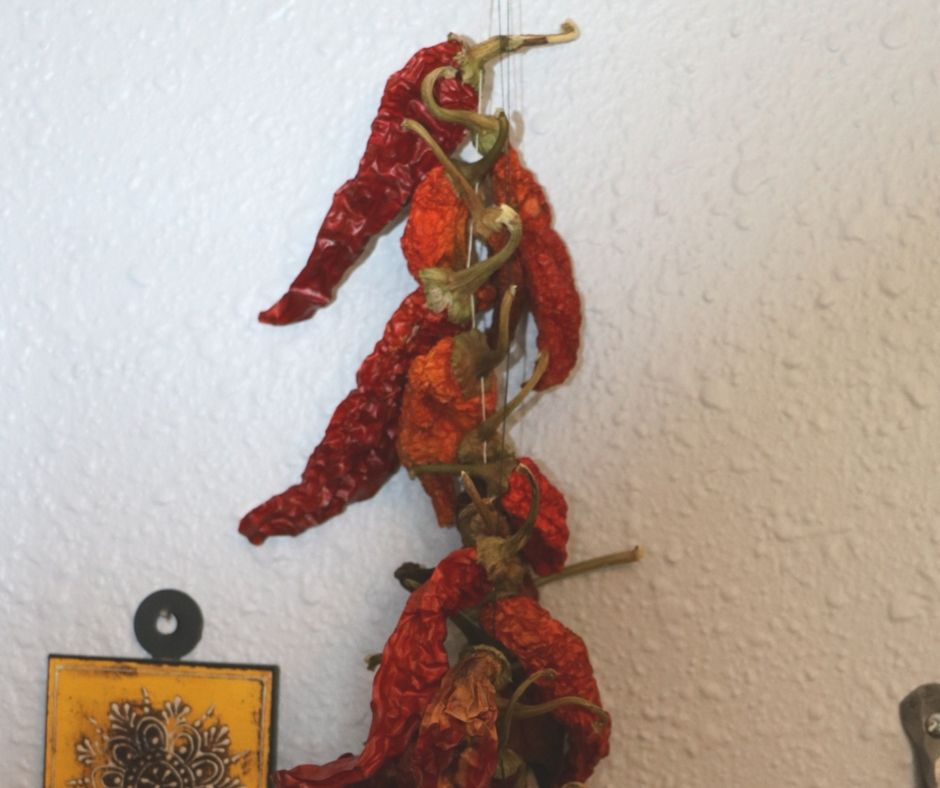 string of dried hot peppers hanging