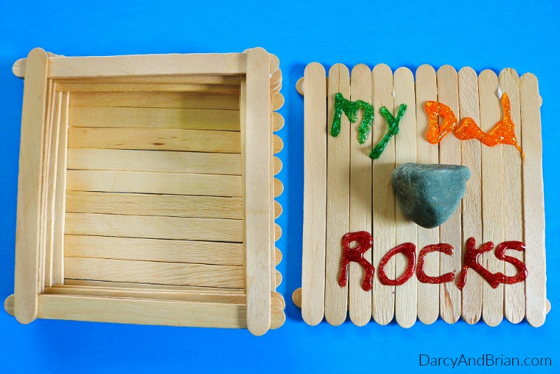 father's day gift made with popsicle sticks and rocks