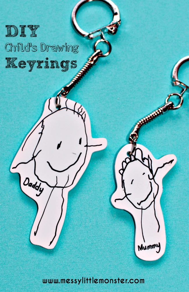 shrinky dink keychains from child's drawing