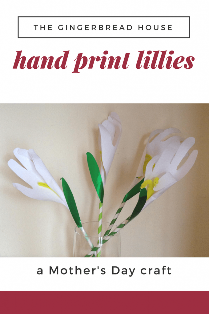 Paper lillies made from kid's handprints.