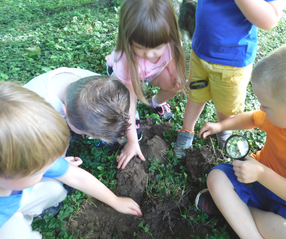 Kids working together in the yard to find insects