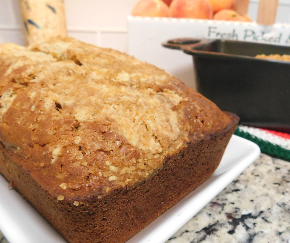 Peach season is my favorite. I love making this healthy peach cobbler bread, it's the best peach bread recipe and my kids love it!