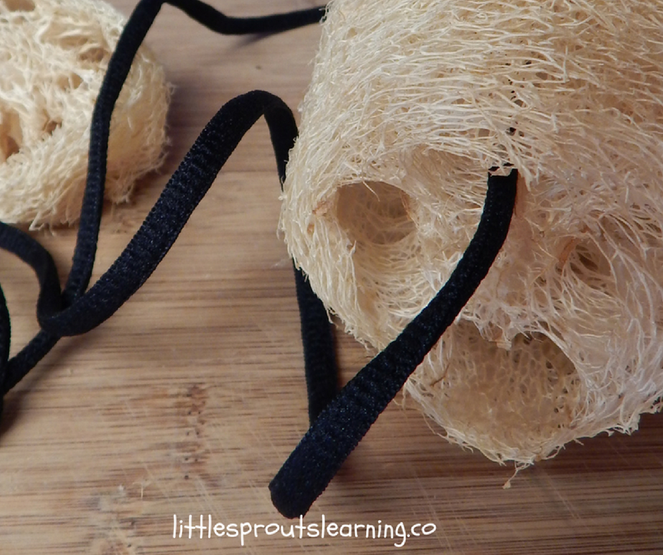 Loofah sponges with shoe lace threaded through middle to hang.