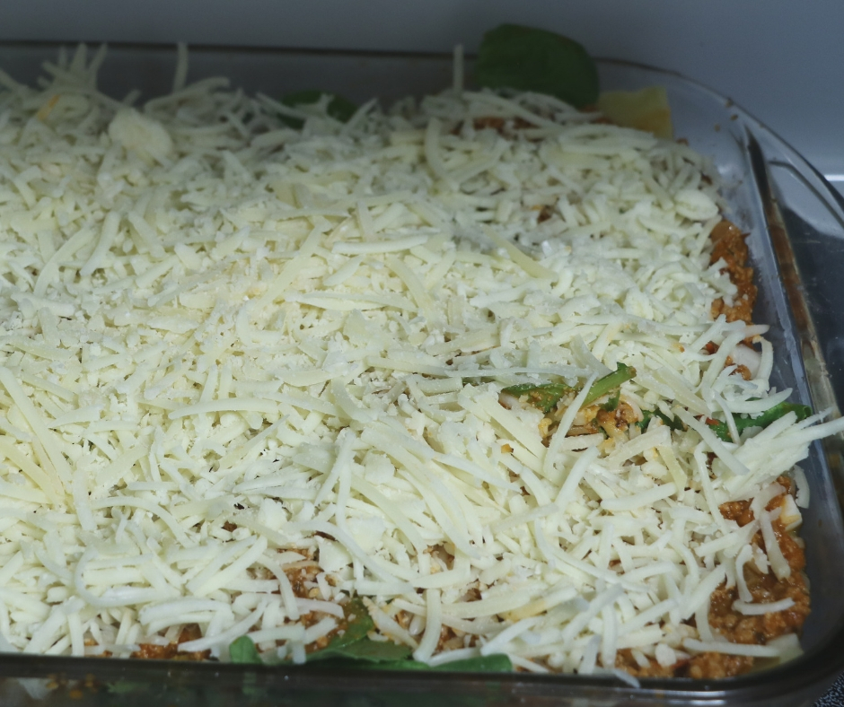completed lasagna ready to go in oven