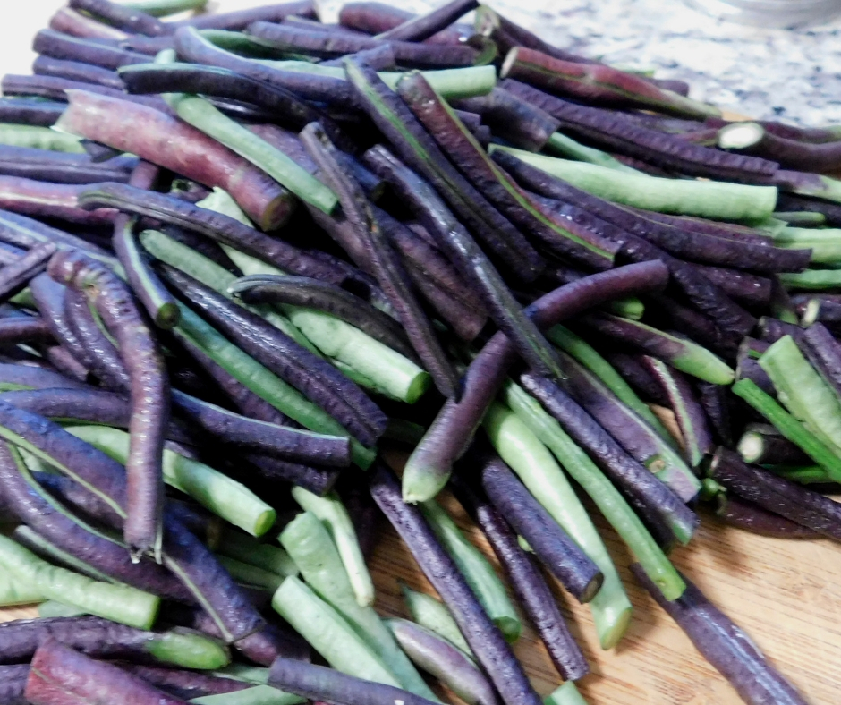 purple and green asian long green beans cut up and piled up on a cutting board