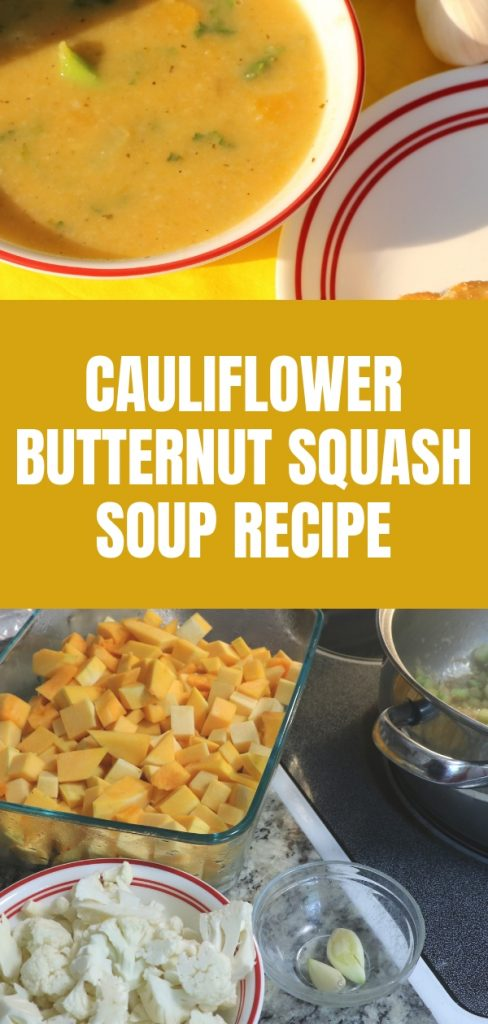 My daughter and I were working on recipes using what's in season in Oklahoma and I came up with this cauliflower butternut squash soup.