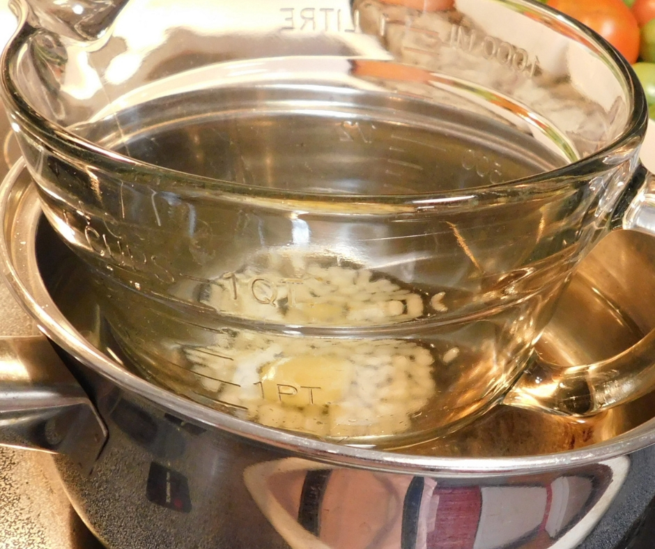 melting lanolin lip balm ingredients in double boiler