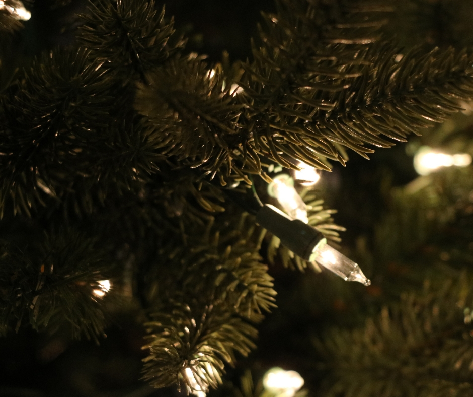 lights on a christmas tree, close up