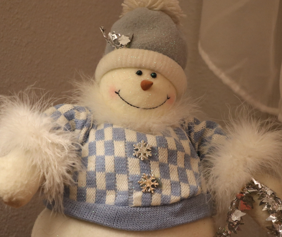 Stuffed snowman decoration reducing christmas anxiety