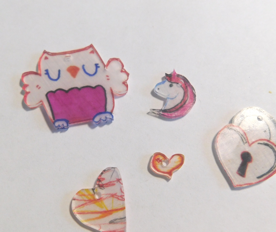 fresh baked shrink art, owl, unicorn, hearts.