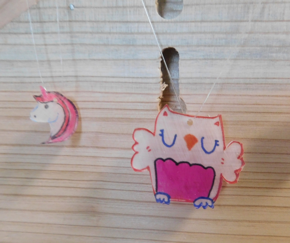 Homemade shrinky dinks, owl and unicorn