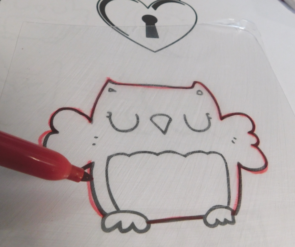 tracing owl for homemade shrinky dink