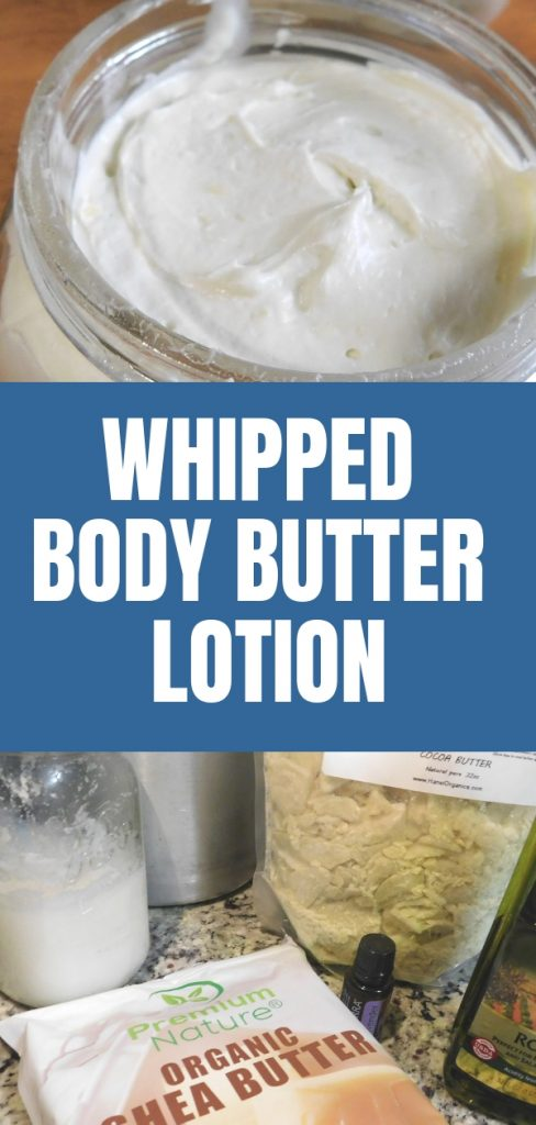 Dry skin is so uncomfortable and lotions can be full of harsh chemicals and fragrances we don't want on our skin. This whipped body butter lotion recipe might be just what you're looking for. It's thick and creamy and feels so good on your skin.