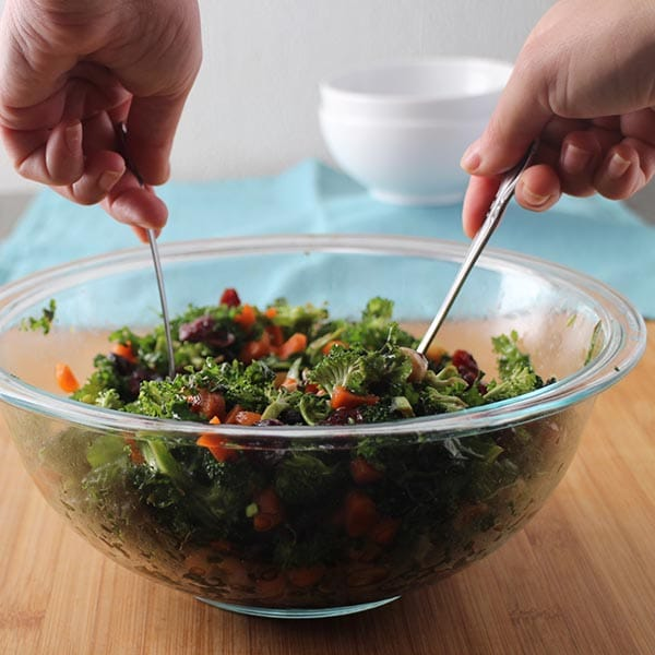 tossing a vegetable salad no cook dinners