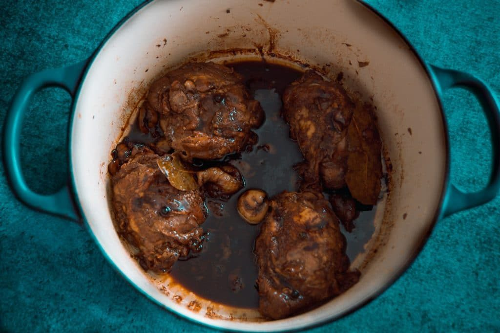 One pot wonder chicken adobo in a dutch oven