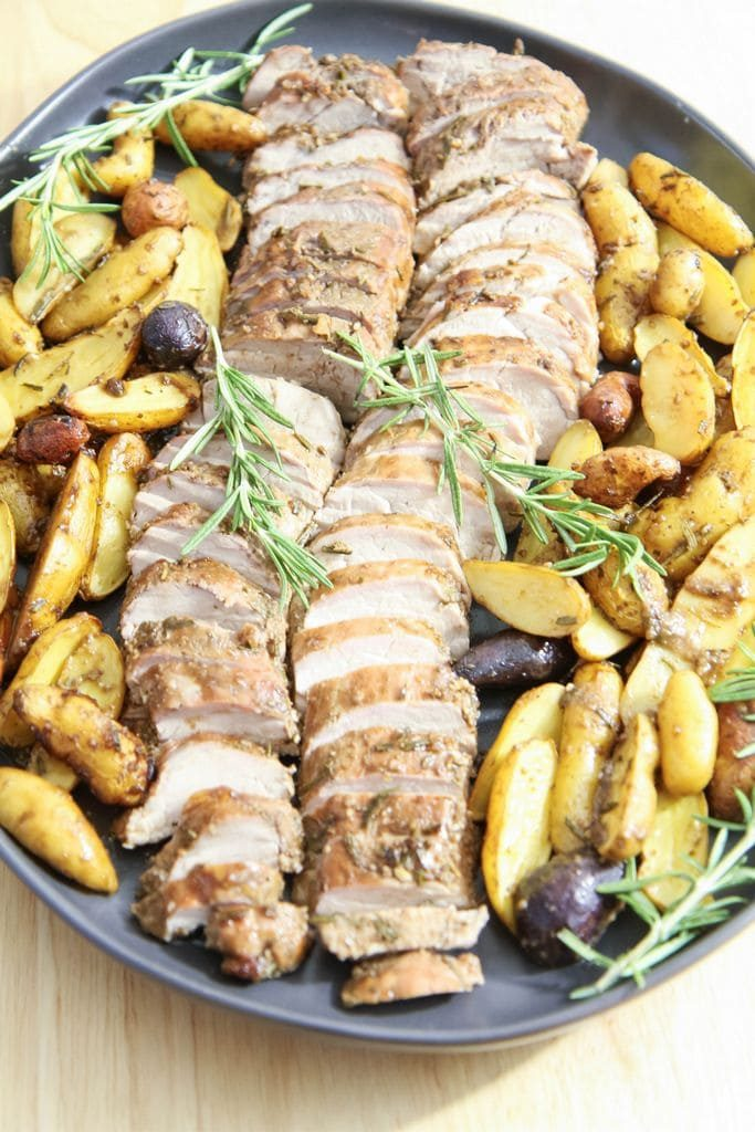 One pot wonder of pork tenderloin and potatoes on a plate