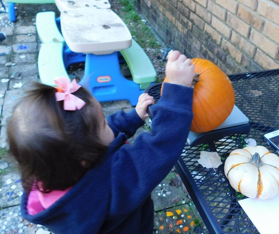 child weighing pumpkin on scale for pumpkin activities