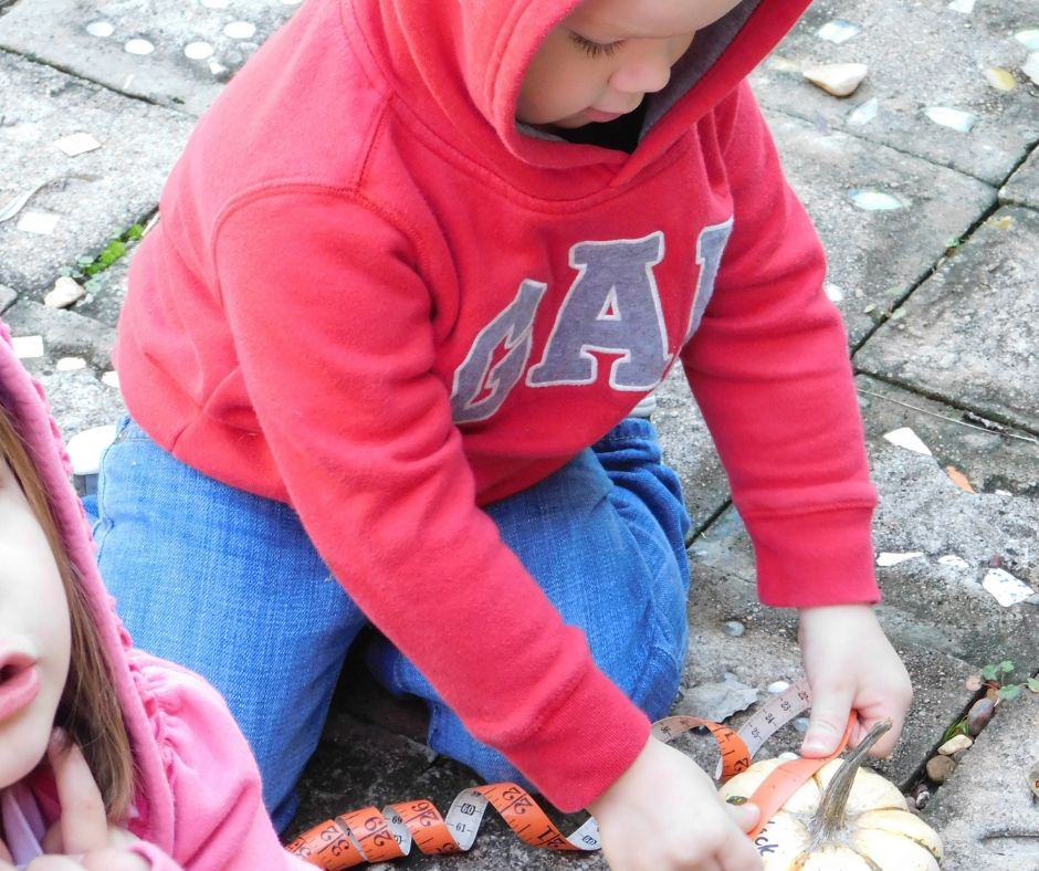 child measuring pumpkin with tape measure