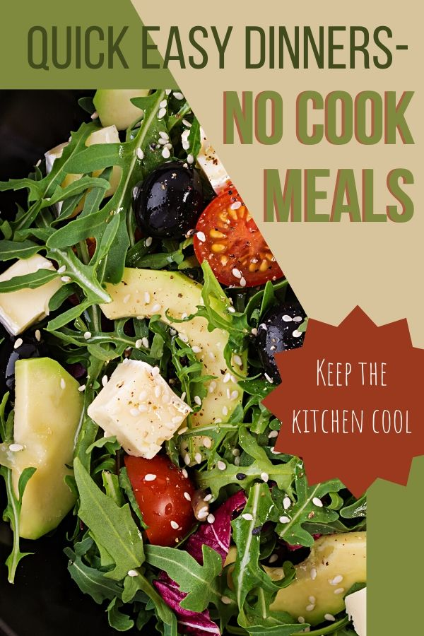 Who wants to cook in the heat of summer? Heat up the house even more? No thanks! Check out these no cook meals that are cool to make.