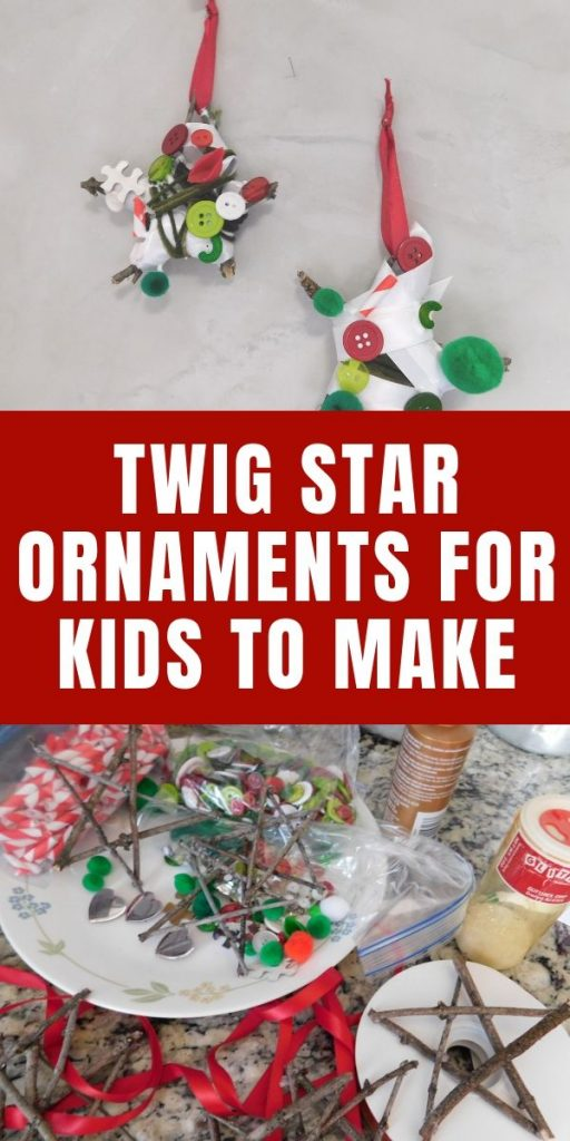 There's nothing better than being able to rummage around the house to find things kids can make. I love these twig star ornaments that you can make with sticks from the yard.