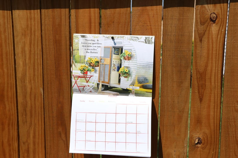 2020 Vintage camper photography calendar on a wooden fence
