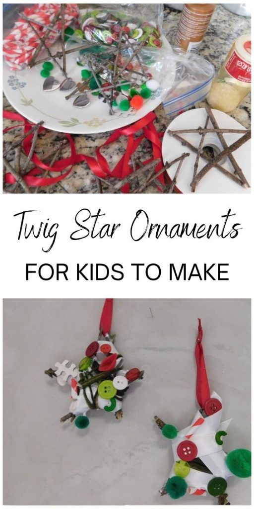 There's nothing better than rummaging around to find things kids can make. I love these twig star ornaments that you can make with sticks from the yard.