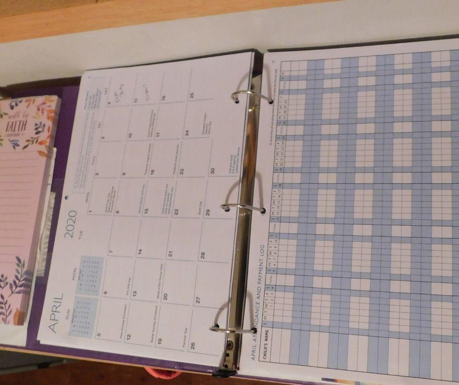 Redleaf press calendar keeper used in a binder for daycare paperwork