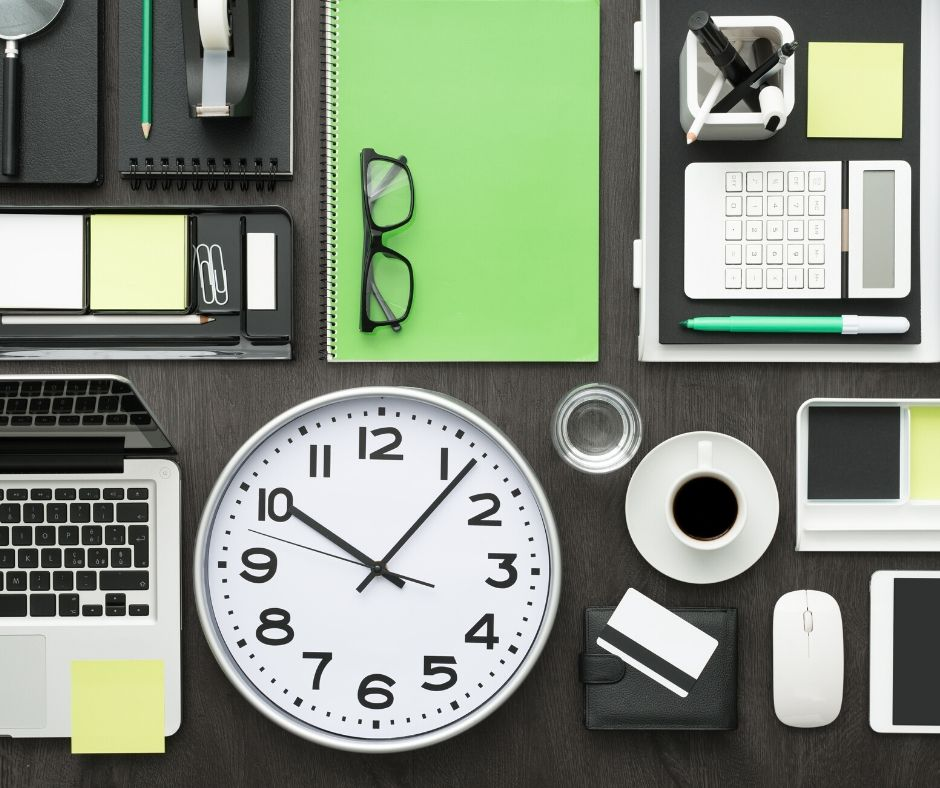 time management tools, clock, computer, coffe, paper, etc