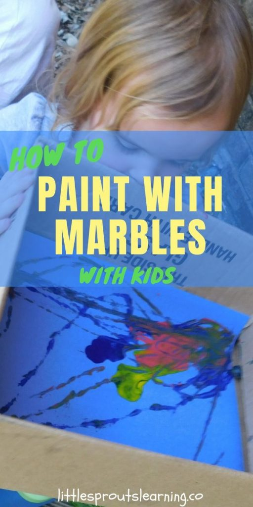 I love process art for kids. I love easy projects with stuff I already have. This paint with marbles activity was simple, not as messy as regular painting and fun!
