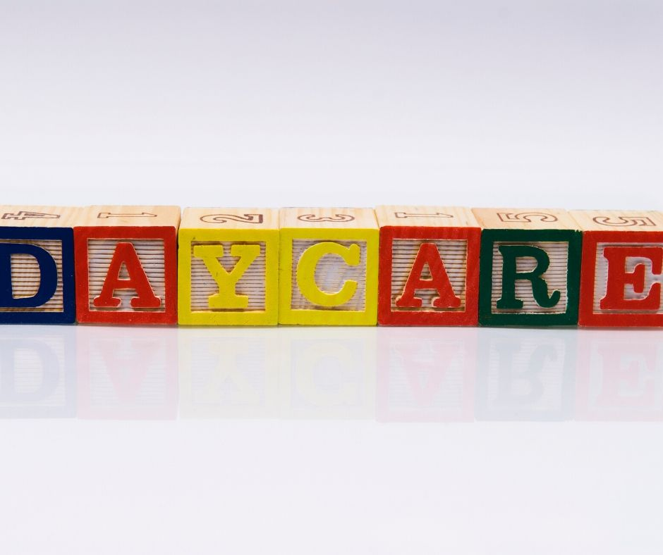 blocks that spell out daycare