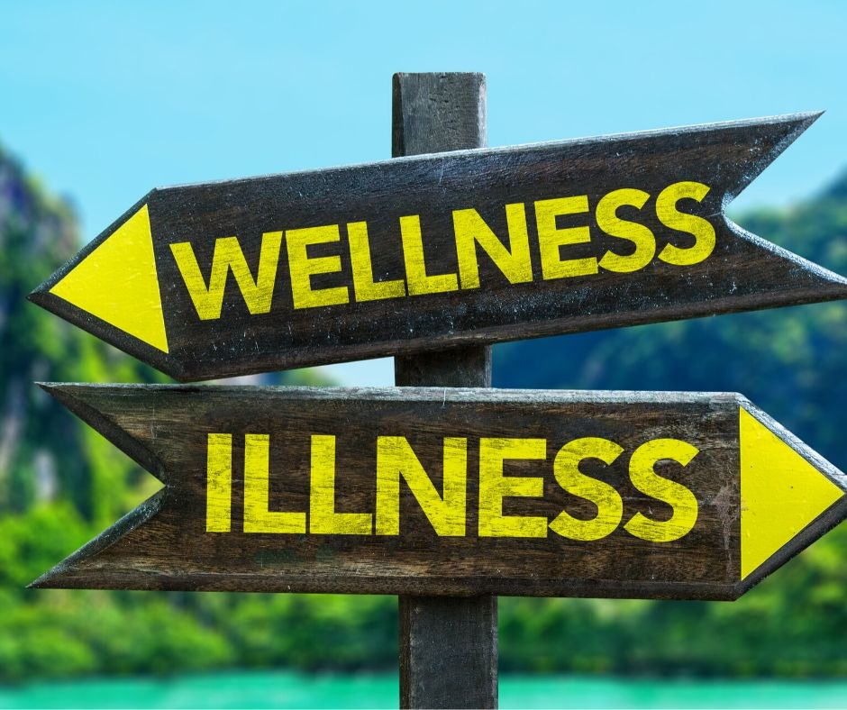 illness and wellness arrows on a sign