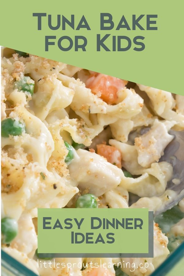 I love it when I find a recipe combination that my daycare kids are crazy about. This tuna bake for kids is an easy dinner idea, can be made ahead, freezes great, and pleases a crowd.