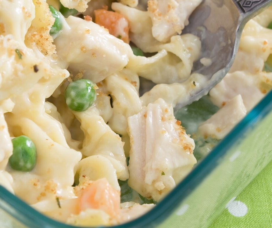 tuna bake for kids with carrots, peas and egg noodles