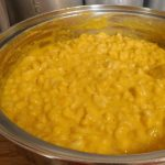 butternut squash mac and cheese for kids in a pan on the counter